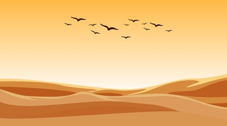 Background scene with birds flying over sand field illustration