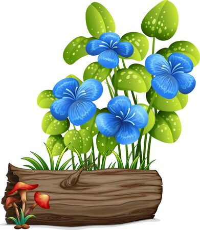 Blue flowers and mushrooms on white background illustration Foto de archivo - 133419680