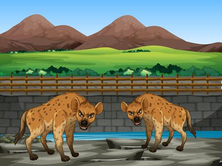 Scene with hyena in the zoo illustration