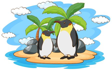 Penguins standing on the island illustration