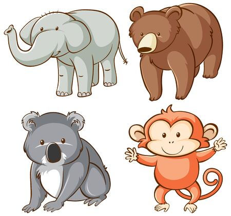 Isolated picture of wild animals illustration