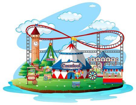 Fun fair theme park on isolated background illustration