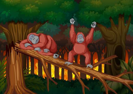 Deforestation scene with two monkeys illustration
