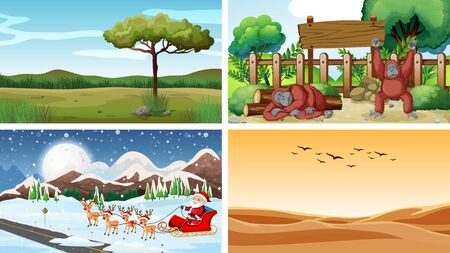 Four scenes with animals and nature illustration Illustration