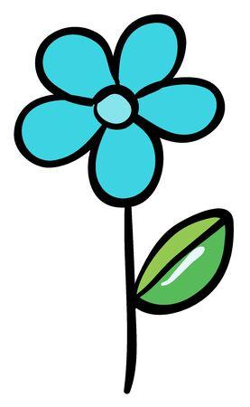 Single flower in blue color illustration Foto de archivo - 133419761