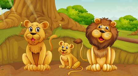 Scene with lion family in the park illustration