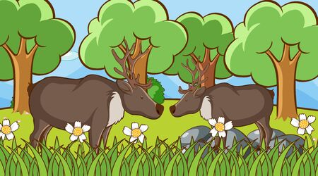 Scene with deers in the park illustration