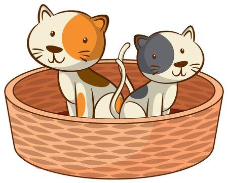 Two kittens on white background illustration Illustration