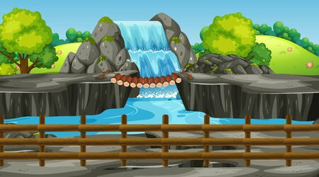 Background scene with waterfall in the park illustration