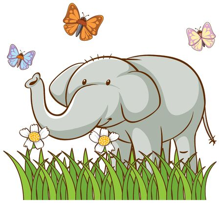 Isolated picture of gray elephant illustration Ilustrace