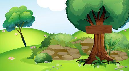 Background scene with wooden sign in the park illustration Standard-Bild - 133419925