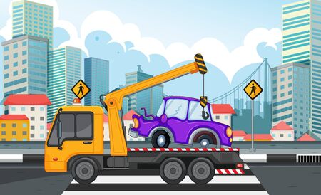 Tow truck lifting car on the road illustration