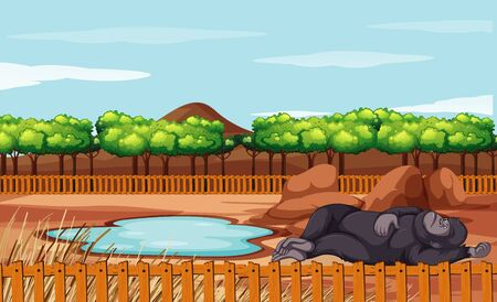 Scene with gorilla sleeping on the ground illustration Çizim