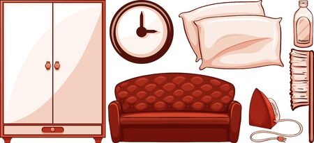 Isolated set of furnitures illustration Ilustração