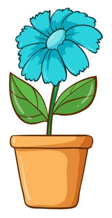 Single flower in blue color illustration Foto de archivo - 133419937