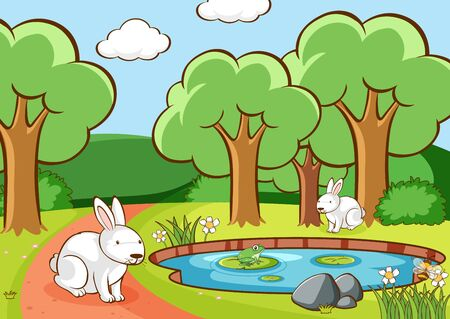 Scene with bunnies in the park illustration