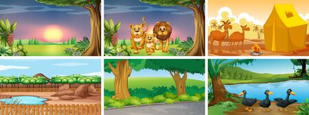 Six different scenes with animals illustration