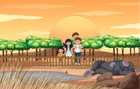 Scene with family visiting the zoo illustration 일러스트