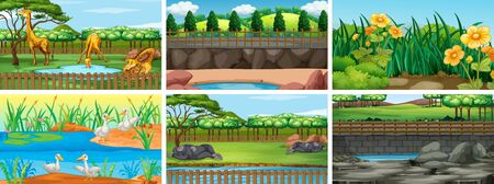 Set of background scenes with nature illustration