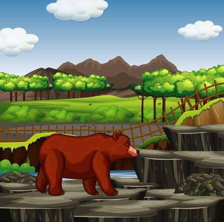 Zoo scene with grizzly bear illustration