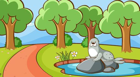 Scene with seal in the park illustration