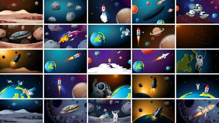 Large set of different space scenes illustration