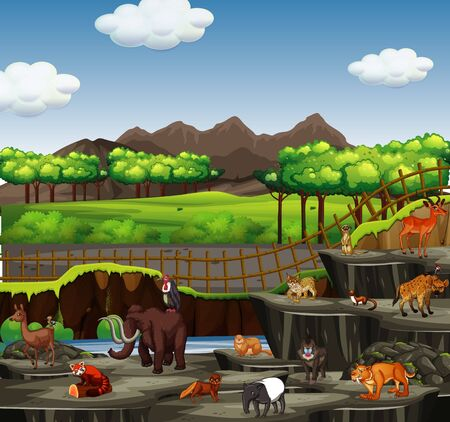 Scene with many animals at the zoo illustration
