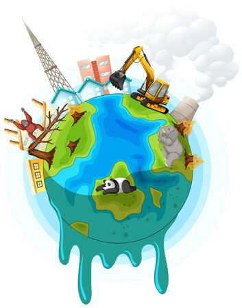Poster design with global warming problem illustration
