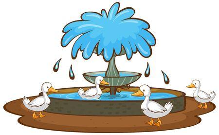 Ducks and fountain on white background illustration 일러스트