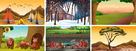 Different background scenes of nature illustration Çizim