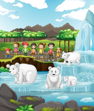 Scene with polar bears and children at the zoo illustration 일러스트
