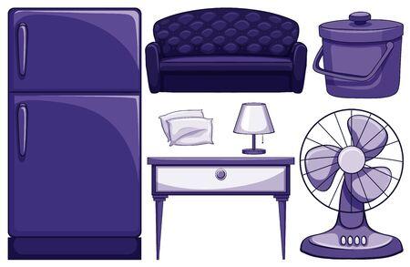 Household furnitures in blue illustration