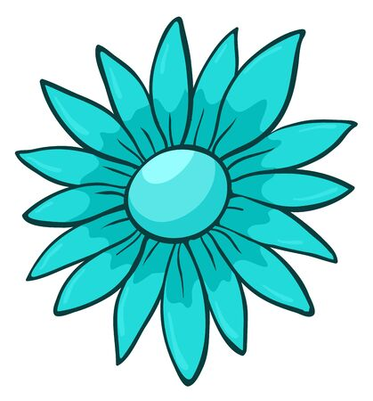Single flower in blue color illustration Foto de archivo - 133420224