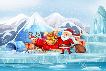 Scene with santa and christmas presents illustration Stock Illustratie