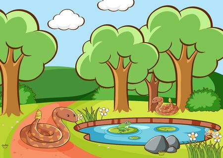 Scene with snakes and frog by the pond illustration