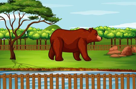 Scene with grizzly bear in the zoo illustration