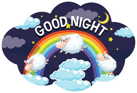 Word design for good night with sheeps illustration