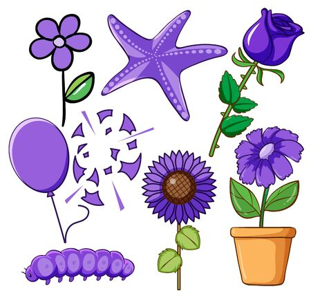 Set of flowers and animals in purple illustration