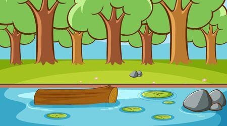 Scène de fond avec des arbres dans l'illustration de la forêt