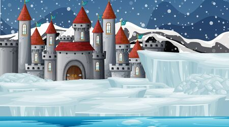 Scene with castle in the snow illustration