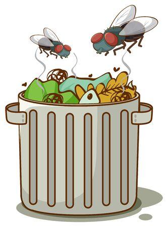Trasshcan with flies on white background illustration Ilustracja