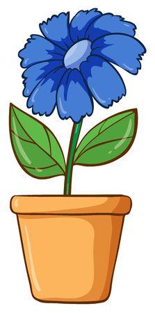 Single flower in clay pot illustration Foto de archivo - 133420396