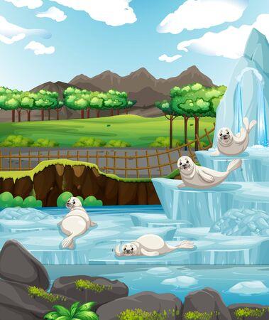 Scene with white seals on ice illustration 일러스트