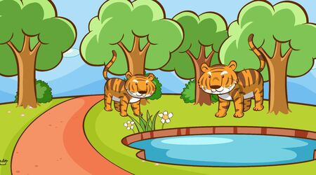 Scene with tigers in forest illustration