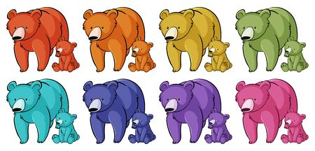 Isolated set of grizzly bears in many colors illustration