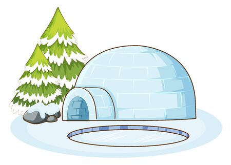 Winter scene with igloo illustration Ilustracja