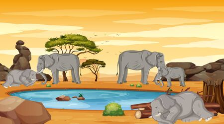 Scene with many elephants in dry land illustration