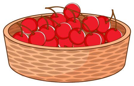 Basket of cherries on white background illustration