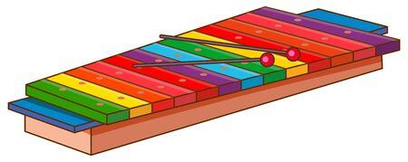 Xilofono su sfondo bianco illustrazione Vettoriali