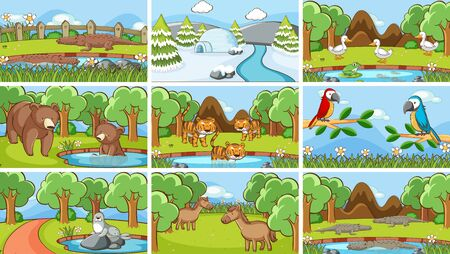 Background scenes of animals in the wild illustration Foto de archivo - 133653016